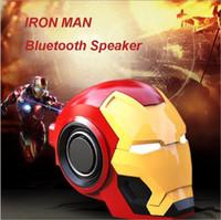 ingrosso cellulari di ferro-Iron Man casco senza fili Bluetooth audio mini regalo subwoofer scheda di telefonia mobile carta di ferro creativo altoparlante