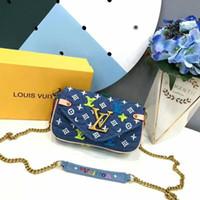 calças de brim da forma do saco venda por atacado-19ss novo design de moda mulheres famosa bolsa de cadeia mulheres pequena bolsa cadeia carteira jeans bolsa de ombro crossbody # 003