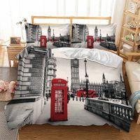 freie verschiffen-duvets großhandel-Freies verschiffen London City Landschaft Big Ben Red Telefonzelle Bus Druck Bettwäsche Set Quilt Bettbezug + Kissenbezug US AU EU Größe