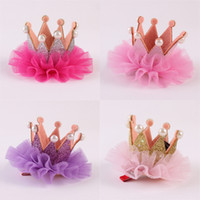 coiffe de perles de princesse achat en gros de-Pince à cheveux enfant pinces à cheveux couronne en dentelle trois princesse princesse cadeaux d'anniversaire perle lueur coiffe enfants 45