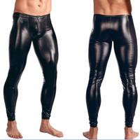 Wholesale man lingerie club for sale - Group buy Plus Size Underwear Men s Leggings Pants Stage Performance Sexy Lingerie Men Latex Faux Leather PVC Gay Club Dance Wear