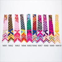 zwillingshandtasche schal großhandel-100 cm * 5 cm Mode Frauen Streifen Twilly Kleine Band Schal Haarband Tasche Gebunden Griff Seide Wraps Handtasche Griff Stirnbänder Krawatte