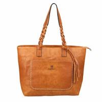 Wholesale brown woven tote bags resale online - Designer Female handbags New handbag fashion fringed messenger bag Large capacity shopping bag hand woven skin shoulder bag