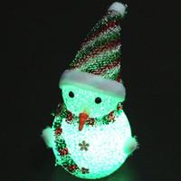 цветные украшения оптовых-Кристалл EVA LED 7 Изменение цвета Фестиваль снеговика Night Light Home Decor Рождественские украшения Ночные светильники EVA лампы