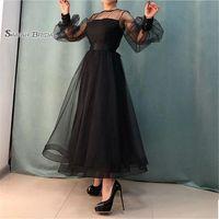 ingrosso lunghezza lunga della caviglia del manicotto del vestito nero-Abiti lunghi da damigella d'onore di lunghezza della caviglia di gioielleria di lunghezza nera Abiti in azione Vendita calda Vestito da occasione di alta qualità