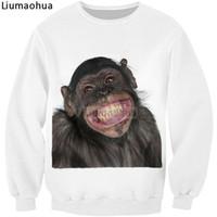 ingrosso animali ridenti-Stampa 3D di nuova marca Simpatico animaletto Modello orangutan che ride La felpa supera la taglia S-5XL