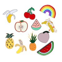 Wholesale enamel cherry for sale - Group buy Cartoon Fruit Brooch Cute Rainbow Watermelon Apple Pineapple Cherry Banana Enamel Pins Jackets Lapel Pin Badge for Women Jewelry