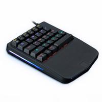el tel pc toptan satış-SıCAK Kablolu 28 Tuşları Karışık Multimedya Tuşları Işık Ergonomik PC Tek El Oyun Mekanik Klavye