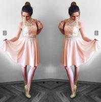 ingrosso vestiti da cocktail rosa halter in pizzo-Bella Blush Pink Homecoming Abiti Una linea Halter Neck Top in pizzo in chiffon Mini abito da cocktail Party Abiti abito da laurea