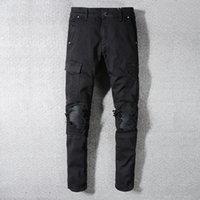 ingrosso buchi neri di ghette-2019SS New Fashion High Stree AMIRI Nero Tooling jeans da uomo buco patch pu stretch slim leggings pantaloni shippin libero