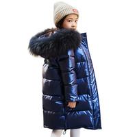 uzun parka oğlan toptan satış-Erkekler giyim su geçirmez Giyim için aşağı Yüksek kaliteli Yeni Kız Kış Sıcak Beyaz ördek ceketler Çocuk parka İçin Kapşonlu uzun Coats