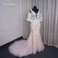 ingrosso sciarpa in pizzo rosa-Blush Pink Mermaid Wedding Dress with Wrap Scarf Floral Lace Appliqued Deep V Neckline Abito da sposa Real Photo