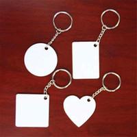 bagues carrées en plastique achat en gros de-Sublimation Porte-clés en plastique vierge Rectangle Rond coeur coeur porte-clés impression de transfert à chaud impression nouveau style