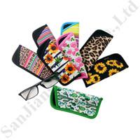 Wholesale crystal eyeglasses frames resale online - RTS Eyeglasses Pouch Floral Neoprene Carry Bag for Sunglasses Portable Eyewear Case Container Dust Waterproof Eyeglasses Storage Bags C82104
