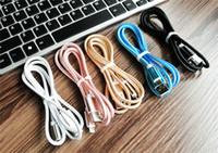 iphone lead'leri toptan satış-C tipi S8 S8 Artı 1 M 2 M için USB Kablosu 3 M Kırılmamış Metal Bağlayıcı Naylon Örgü Mikro V8 Samsung S6 S7 Not 8 Için USB Kablosu Kurşun şarj Kablosu