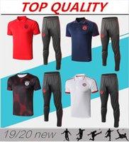 ingrosso polo uniforme-2019 Bayern Munich Polo Maglia da calcio 19/20 Bayern Blue Soccer Allenamento maniche corte Uniformi sportive Camicie da uomo