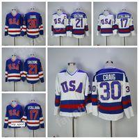 equipo usa hockey jersey blanco al por mayor-Hot 1980 USA Hockey Jerseys 17 Jack Ocallahan 30 Jim Craig 21 Mike Eruzione Jersey Hombres Venta Equipo Color Azul Blanco Cosido Envío gratis