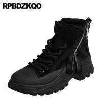 zapatillas de mujer tacón medio al por mayor-2019 botas de las zapatillas de deporte harajuku tobillo de las mujeres de encaje tacón medio hasta plataforma plana negro tela de gamuza panecillo botines de plataforma zapatos chinos