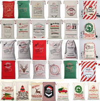 Wholesale canvas sacks for sale - Group buy 36 colors Christmas Gift Bags Large Organic Heavy Canvas Bag Santa Sack Drawstring Bag With Reindeers Santa Claus Sack Bags for kid