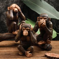 affe kinder dekor groihandel-Lustige Harz Ape Skulptur Abstrakt Tier-Statue Hauptdekoration Zubehör Craft Affe Figur Kinderzimmer Dekor