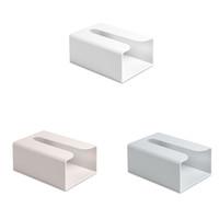 recipiente de caixa de tecido plástico venda por atacado-Pure Color Punch-livre Toilet Box Tissue Paste-tipo Carretel Caso Recipiente De Papel De Plástico Retangular