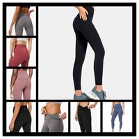Wholesale tight yoga pant new for sale - Group buy 2020 new LU Solid Color Women yoga pants High Waist Sports Gym Wear Leggings Elastic Fitness Lady Overall Full Tights Workout