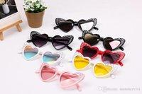 ingrosso occhiali da sole in cristallo-Occhiali da sole per bambini ragazze dolci amore a forma di cuore Uv 400 occhiali da sole bambini intarsi strass fotografia oggetti di scena per bambini beach sunblock YA0161