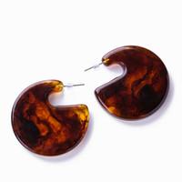 Wholesale flat hoop earrings for sale - Group buy Fashion Jewelry Round Acrylic Hoop Earrings For Women Resin Bohemian Geometry Flat Semicircle Statement Earrings pendientes