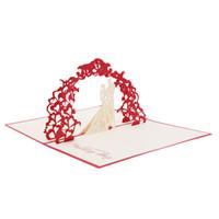 convite de marfim venda por atacado-Hot New 3D Greeting Card Amor Romântico Aniversário de Casamento Aniversary Dia Dos Namorados Convites Cartões Presentes Presentes lp0146