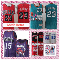 23 toros al por mayor-Universidad de Carolina del Norte Space Jam 23 Michael Jersey Vince 15 Carter Bulls Jerseys bordados Logos Barato envío gratis