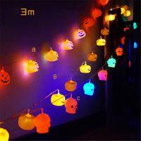 batterien verkauften weihnachten großhandel-Heiße Verkaufs-Halloween-Kürbis-Lampe 3M LED Light String Garland Batteriebox Gerät Neujahr Weihnachtsschmuck für Halloween Startseite Weihnachten