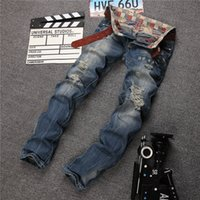 jeans de hombre 28 32 al por mayor-los hombres de la marca diseñador de moda destruyeron jeans estilo europeo y americano repararon jeans desgastados slim fit ripped denim jeans 28-38