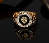 neuer punk-mode-ring großhandel-Party Ring neue Mode Gold und Silber Farben klassische Männer Punk-Stil Hip Hop Ring Löwenkopf Männer Mann Fingerringe für Männer Frauen Size7-12