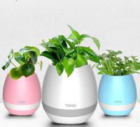 işıklı bitki kapları toptan satış-Yenilik Bluetooth Akıllı Dokunmatik Müzik Saksılar Yenilik Öğeleri Tasarımcı Light up Bitki Piyano Pot Müzik Çalma Kablosuz Renkli Saksı