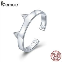 Wholesale cute cat ears ring for sale - Group buy BAMOER Fashion Sterling Silver Cute Cat Paw Ears Animal Shape Adjustable Finger Rings Party Wedding Jewelry Making SCR387