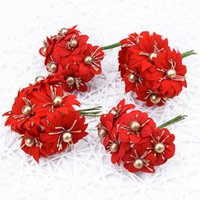 Wholesale garland brooches for sale - Group buy 6pcs Artificial flowers DIY Christmas flowers for scrapbooking Fake plants diy gifts box Garlands bride brooch cheap silk stamen
