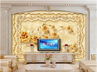 Wholesale luxury gold wallpaper for sale - Group buy WDBH d wallpaper custom photo European luxury marble gold rose relief home decor living room d wall murals wallpaper for walls d
