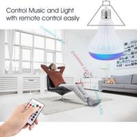 kapalı bilye lambası toptan satış-Akıllı E27 LED Beyaz + RGB Işık Topu Ampul Renkli Lamba Akıllı Müzik Ses Bluetooth 3.0 Hoparlör Uzaktan Kumanda ile Ev için, sahne