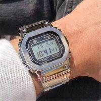 homens relógio bracelete de aço quadrado venda por atacado-Estudante dos homens 2019 Choque Popular Relógios Quadrados de Aço Inoxidável Dial G Estilo Resistir Pulseira de Relógio de Pulso para Homem LED Digital Relógio Solar