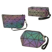 japan-patchwork-tasche groihandel-Luminous Kosmetiktaschen Frauen Geometrische Zipper Make-up-Stadtstreicherin Kosmetik Organizer Folding Travel Makeup Bag
