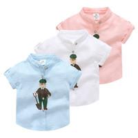 camisa do colar do mandarino dos meninos do bebê venda por atacado-2018 Verão Casual Mandarim Criança Collar Algodão Branco Azul Rosa de manga curta avô vovô Imprimir Linho Crianças menino camiseta