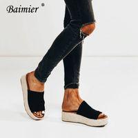 siyah yüksek takozlar toptan satış-Baimier Yaz Siyah PU Deri Kadın Kama Espadrilles Burnu açık Yüksek Topuklu Kadın Platformu Sandalet Yumuşak Kadın Açık Terlik