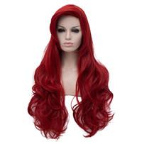 uzun kırmızı dalgalı saç toptan satış-Jessica Tavşan Dalgalı Uzun Şarap Kırmızı Isıya Dayanıklı Cosplay Saç Peruk