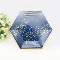 ingrosso tazze di carta blu-24 set arrossire rosa stoviglie esagonali piatti in marmo bicchieri di carta blu navy festa di compleanno anniversario pensionamento Capodanno
