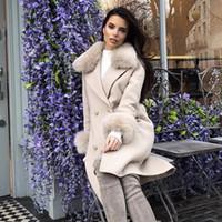 ingrosso cappotto a trench doppio-2019 Nuove donne moda cappotto nudo albicocca manica lunga Button Sash cappotto lungo stile donne lungo cappotto doppio petto trenches