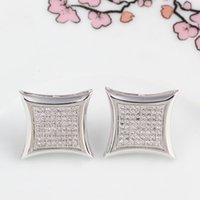 eski elmas mücevherat toptan satış-Tam elmas mikro düğün Damızlık küpe kadın erkek Lüks beyaz Zirkon Dangle küpe altın gümüş gül Vintage geometrik Takı toptan
