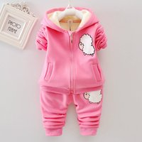 Wholesale cute baby girl winter coats for sale - Group buy 2019 Winter Kids Baby Girl Clothes Set Infant Thicken Cute Cartoon Ear Hoodie Sweatshirt Pants Suits Casual Toddler Outfits