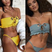 ingrosso micro bikini giallo-costume da bagno 2019 donne sexy costumi da bagno volant giallo usura spiaggia signore mini micro bikini tanga bikini rosso perizoma biquini a vita bassa