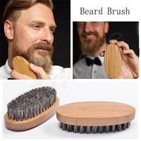 boar brush hair bristles toptan satış-Domuzu Saç Kıl Sakal Fırçası Bambu Ahşap Bıyık Fırçalar Anti-statik kaymaz Bıyık Fırçası Erkekler Sakal Kuaförlük Aracı HHA469