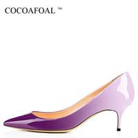 ingrosso scarpe da sposa formato 43-Cocoafoal Woman Heels Leopard Shoes Big Size 43 44 Party Sexy Purple Shoes Blu Bianco Verde Rosa Stiletto Scarpe da sposa